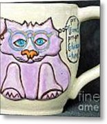 Smart Kitty Mug Metal Print