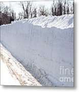 Snow By The Roadside Metal Print by Ted Kinsman