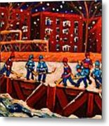 Snow Falling On The Hockey Rink Metal Print