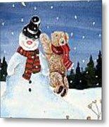 Snowman In Top Hat Metal Print by Gordon Lavender