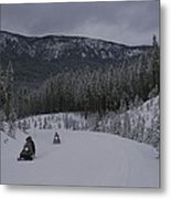 Snowmobilers In Yellowstone National Metal Print by Raymond Gehman