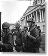 Soldiers Stand Guard Near Us Capitol Metal Print