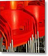 Stacked Chairs Metal Print by Carlos Caetano