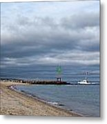 Stormy Evening Bass River Jetty Cape Cod Metal Print by Michelle Wiarda
