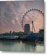 Sunrise London Eye Metal Print by Donald Davis