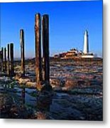 Sunset At St. Mary's Lighthouse Metal Print
