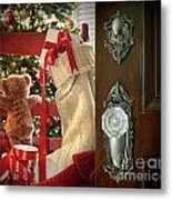 Teddy Waiting For Christmas Time Metal Print