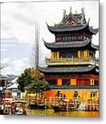 Temple Pagoda Zhujiajiao - Shanghai China Metal Print