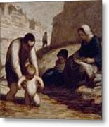 The First Bath  Metal Print by Honore Daumier