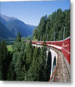 The Glacier Express Crosses A Bridge Metal Print by Taylor S. Kennedy