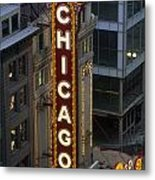 The Sign Outside The Chicago Theater Metal Print by Paul Damien
