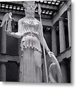 The Statue Of Athena Bw Metal Print
