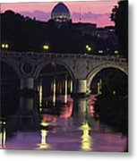 The Tiber River And The Dome Of St Metal Print