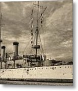 The Uss Olympia Black And White Metal Print by JC Findley
