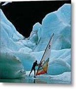 This Windsurfer In Portage Lake Metal Print by Chris Johns