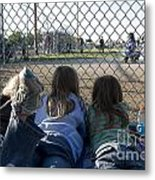 Three Girls Watching Ball Game Behind Home Plate Metal Print