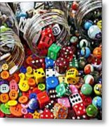 Three Jars Of Buttons Dice And Marbles Metal Print