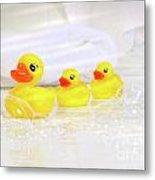 Three Little Rubber Ducks Metal Print