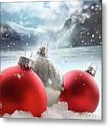 Three Red Christmas Balls In The Snow Metal Print
