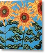Three Sunflowers IIi Metal Print by Genevieve Esson