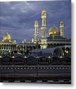 Twilight View Of An Illuminated Mosque Metal Print