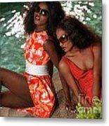 Two Beautiful Women In Dresses At The Pool Metal Print by Oleksiy Maksymenko