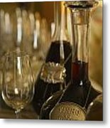 Two Decanters Of Port Wine And Glasses Metal Print