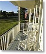 Two Rocking Chairs On A Sunlit Porch Metal Print by Scott Sroka