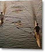 Two Rowers Paddle Down The Charles Metal Print by Tim Laman