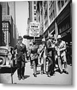 Union Men Picketing Macys Department Metal Print by Everett