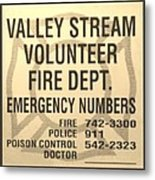 Vallet Stream Fire Department In Sepia Metal Print