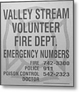 Valley Stream Fire Department In Black And White Metal Print