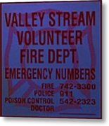 Valley Stream Fire Department In Blue Metal Print by Rob Hans