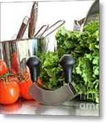 Vegetables With Kitchen Pots And Utensils On White  Metal Print by Sandra Cunningham