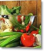 Veggies On The Counter Metal Print by Sandra Cunningham