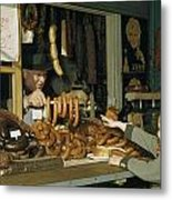 Vendor Holds Up Sausages For Young Girl Metal Print