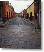 View Of Cobblestone Streets In San Metal Print