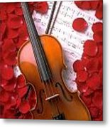 Violin On Sheet Music With Rose Petals Metal Print by Garry Gay