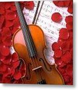 Violin On Sheet Music With Rose Petals Metal Print