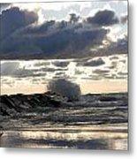 Wave Crashing Into Jetty On Lake Michigan Metal Print