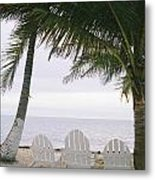 White Beach Chairs Line The Shore Metal Print by Stephen Alvarez