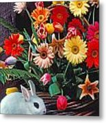 White Rabbit By Basket Of Flowers Metal Print by Garry Gay