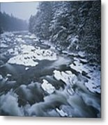 Winter View Of The Ausable River Metal Print
