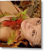 Woman In Fallen Leaves Metal Print by Oleksiy Maksymenko