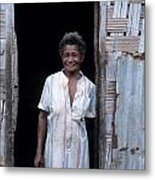 Woman Standing-up Outside Her Home Metal Print