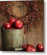 Wood Bucket Of Apples For The Holidays Metal Print
