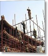Workers Climb Scaffolding On The Palace Metal Print