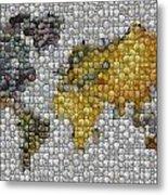 World Map Coin Mosaic Metal Print