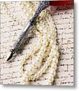 Writing Pen And Perals  Metal Print