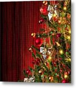 Xmas Tree On Red Metal Print by Carlos Caetano